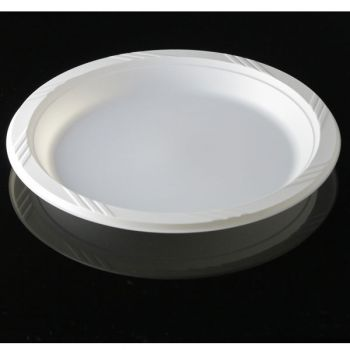 """Mashers 9"""" Disposable White Plastic Dinner Party Buffet Plates – Case of 400"""