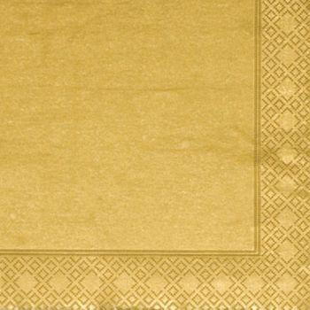 1000 x Metallic Gold Paper Tea Napkins 33cm/3ply
