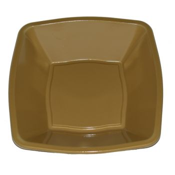 """Mashers 7"""" Gold Plastic Square Disposable Party Soup/Salad/Dessert/Snack Bowls – Case of 240"""