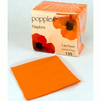 2000 x Orange Paper Tea Napkins Serviettes - 33cm/2ply