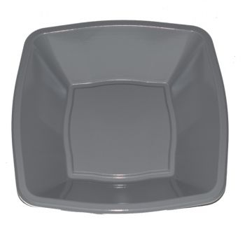 """Mashers 7"""" Silver Plastic Square Disposable Party Soup/Salad/Dessert/Snack Bowls – Case of 240"""