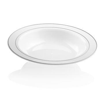 160x 10oz Strong Fancy White Plastic Soup Bowls - Silver Rim